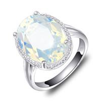 pierres précieuses ovales achat en gros de-6 Pcs 1 lot Luckyshine Classique Bijoux Feu Ovale Blanc Pierre De Lune Cristal Gemmes 925 Argent Fête De Mariage Femme Bague