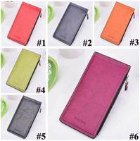 Wholesale zip long wallet resale online - Vintage Metal Hasp Card Slots Ultra thin Card Holders Women Long Purse Leather Wallet Phone Bag Zip Card Holder