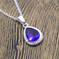 Wholesale dark purple necklace resale online - 12pcs Sofias Amulet Princess Necklace Purple Rhinestone Necklace the First Costume Dark Purple Oval Tear Drop