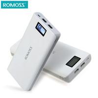 baterias romoss venda por atacado-Original 20000 mAh banco de potência ROMOSS Sense 6/6 Plus LCD Carregador de Banco de Potência Portátil de Bateria Externa de Carregamento Rápido Para Telefones Tablet