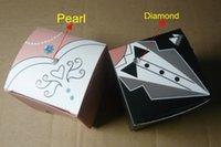 caixa branca do partido quadrado venda por atacado-200 Peças / lote = 100 Pares preto Tux e branco vestido de caixa do favor do casamento em forma quadrada para o evento e caixa de presente do partido e favor nupcial