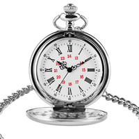 Wholesale pocket watch silver antique - High Quality Smooth Silver Quartz Pocket Watch for Men Women Roman Numerals Design Dial with Short Chain Fashion Antique Cool Clock Gift