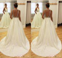 Wholesale Sexy Hochzeitskleid - Elegant Latest Design V-neck Arabic A-line Wedding Dresses Backless Satin Beaded Bridal Wedding Gowns Hochzeitskleid Robe De Mariee