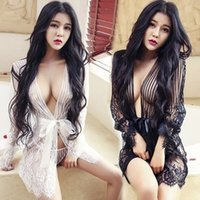 Wholesale Hot Sexy Baby Doll - Sexy Erotic Lingerie Hot Plus Size Langerie Kimono Dress Satin Black Sleepwear Pajamas for Women Baby doll G String