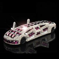 parfum cristal violet achat en gros de-Allonger Sportscar Glitter Crystal Car Intérieur Tableau de Bord Ornement Parfum Stand Auto Air Désodorisant Purple Grand Cadeau