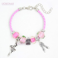 Wholesale Ballerina Charms - New Pink Leather Bracelet Pink Lampwork Murano Glass Bead Ballet Shoe Dancing Ballerina Charm Bracelets for women girls Jewelry Gift Pulsera