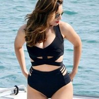 gran push up traje de baño al por mayor-Bikini Plus Size Mujeres Sexy Bikini de Cintura Alta Push Up Sujetador Acolchado Big Women's Swimsuit Traje de Baño Cut Out Swimwear XL-3XL