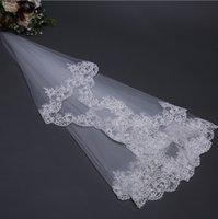 Wholesale elbow veils - 1 M Short White Ivory Bridal Veils Lace Appliques Tulle Wedding Veils Accessories High Quality In Stock