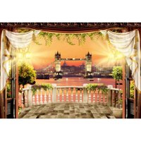 Wholesale city bridge paintings for sale - Group buy London Bridge Photography Backdrop Printed Balcony Flowers Plants Retro Lanterns Night City View Party Photo Booth Background