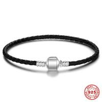 dbbc021dcfff 3 mm pulseras de cuero genuino negro estilo Pandora 925 pulsera de cierre  de plata de ley hombres mujeres dijes DIY granos