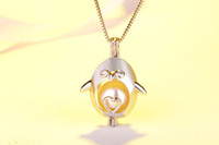 Wholesale jewelry penguin pendant - Oyster pearl Pendant Necklace Love Wish Hollow Out Pearl Necklace Cages Locket Pearl for woman high quality penguin DIY jewelry no chain