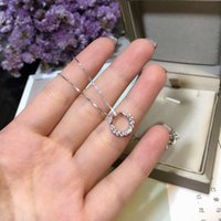 Wholesale Hoop Pendant Necklace - Simple Design Hoop Pendant Circle Short Stone Shinning Short Necklace All Matching Style Yung Lady Party Wedding Graceful 925 Silver