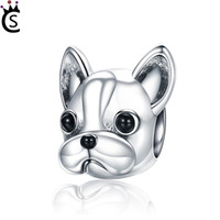 Wholesale fit french - 925 Sterling Silver Loyal Partners French BULLDOG Doggy Animal Beads fit Women Charm Bracelets Dog Jewelry