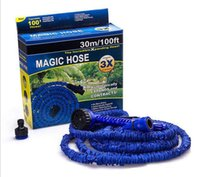 Wholesale expandable magic hose online - 100FT Expandable Flexible Garden Magic Water Hose With Spray Nozzle Head Blue Green with retail box
