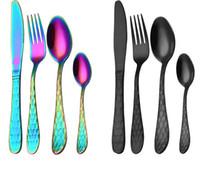 tenedor gotas al por mayor-4 Unids / set Nuevo Lujo Multicolor Rainbow Dinner Set Bodas Cubiertos de Acero Inoxidable Cuchillo Cena Tenedor Scoops Set Cubiertos nave de la gota