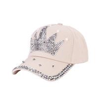 el yapımı beyzbol kapakları toptan satış-PUSEKY Kadınlar yeni moda beyzbol şapkası şapka el yapımı rhinestone boncuk Şapka Inci Taç Kadın Beyzbol Şapkası Snapback Spor Güneş Şapka