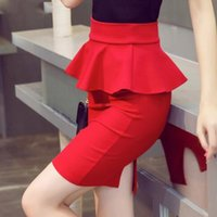 ingrosso pannello esterno nero peplum-New Spring 5XL Big Size Peplo Office Lady Ruffle Skirt Women Sexy Mini Skirt Pencil con fessura Red Black Skirt