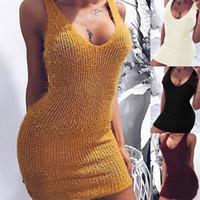 ingrosso vestiti casuali gialli più il formato-Vestito estivo Sexy Scollo a V profondo lavorato a maglia Sholder Abito da festa Maglione Donna Giallo Plus Size Aderente Abito a matita Vestido Feminino