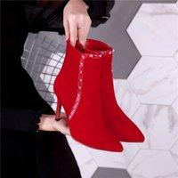 nova moda coreano saltos venda por atacado-Martin botas de moda com botas de couro apontou botas de rebite de pele de carneiro salto alto sapatos coreano sapatos novos das mulheres quentes