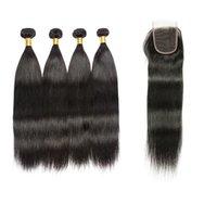 Wholesale fine human hair - 8A Wholesale Brazilian Human Hair Weave Straight 4 Bundles With Lace Closure Cheap Fine Brazilian Virgin Hair Bundles With Lace Closure