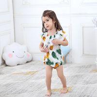 1104f4b81ece INS Baby Romper Summer Pineapple Print Off Shoulder Big Lotus Leaf Collar  Hip-hop Girl Romper Jumpsuits Baby Onesies Kids Clothing T13
