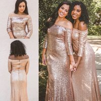 vestido sin espalda brillo coral al por mayor-Sparkle Rose Gold Sequins Bridesmaids Vestidos para bodas en el bosque del país Sirena sin espalda Elegante fuera del hombro Vestidos de boda