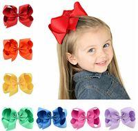 ingrosso forcelle di bowknot-6 pollice neonata bambini arco dei capelli boutique grosgrain clip di capelli hairbow grande bowknot girandola forcelle accessori per capelli decorazione q
