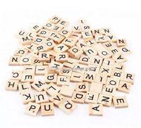 Wholesale Wholesale Scrabble Tiles - 100pcs set Wooden Alphabet Scrabble Tiles Black Letters & Numbers For Crafts Wood B11