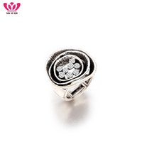 Wholesale big adjustable rings - New Vintage Big Silver Hollow Crystal Ring Simple Punk Style Elastic One Size Adjustable Individual Rings For Women Dropshipping