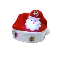 papier weihnachten hüte großhandel-Kinder LED Weihnachtsdekoration Für Home SantaClaus Hüte Papier Weinglas Karte Weihnachtsschmuck Dekor 10.1