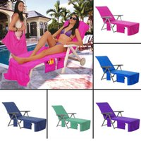 Wholesale pool hot - Beach Chair Covers Beach Towel Microfiber Pool Lounge Chair Cover Blankets Portable With Strap Summer Hot Sale NNA154