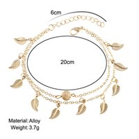 Wholesale gold layer anklet - Gold Pleated Leaves Tassel Double Layer Anklets For Women summer Beach Pendant Ankle Bracelet Long Foot Chain Wedding Jewelry Gift drop ship