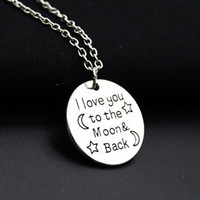 Wholesale family christmas sweaters - Fashion Necklace I Love You To The Moon & Back For Mom Sister Family Pendant Link Chain Sweater Necklace Christmas Gifts