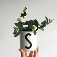 bone china tea cups wholesale Canada - Factory Direct Home decor 1pc 26 English Letters New white bone china English letter coffee tea cups breakfast mugs cup