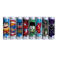 vape sarar toptan satış-Sevimli Süper Kahraman Kaptan Amerikan Batman Örümcek Adam 18650 20700 21700 Pil PVC Cilt Sticker Vaper Sarıcı Kapak Kollu Isı Shrink Wrap Vape