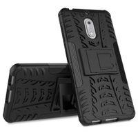 hibrid dayanıklı sert silikon kılıf toptan satış-Çift katmanlı Kılıf Nokia 6 Durumda Lüks Hibrid Silikon + TPU Robot Zırh Darbeye Dayanıklı Sağlam Kauçuk İnce Sert Telefon kapak için Nokia 6
