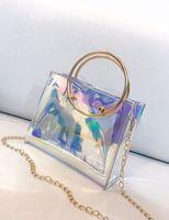 Wholesale hard glitter clutch bags online - Women Fashion Handbag Laser PVC Holographic Hologram Clutch Purse Cute Girl Makeup Bag Party Handbag bucket bag New