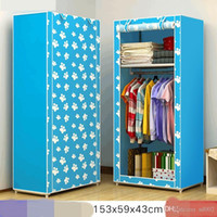 Wholesale cloth wardrobes resale online - Wardrobe Non Woven Single Person Wardrobe Student Dormitory Lockers Home Furnishing Bedroom Furniture Dust Proof Cloth Garderobe nf bb