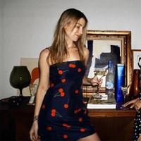 kirazı modası toptan satış-Kadın Kiraz Elbise Seksi Spagetti Kayışı Yaz Bodycon Elbiseler Moda Kılıf Backless Kalem Elbise