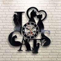 Wholesale I Love Wall - 3D Vinyl Records Clock Plastic Black I Love Cat Shape Wall Clocks Cartoon Lovely Mute Timepiece High Quality 65mdb B