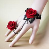 ingrosso braccialetti fatti a mano della pietra preziosa-Braccialetto di fascino dell'anello di barretta del fiore del pizzo del fiore dei gioielli fatti a mano d'annata della signora di modo con gli accessori di nozze della pietra preziosa