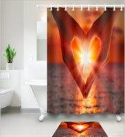 tapete do banheiro do coração venda por atacado-Dedo padrão do coração 3D Impressão Personalizado À Prova D 'Água Do Banheiro Moderno Cortina de Chuveiro Poliéster Tecido Cortina Do Banheiro Porta tapete conjuntos