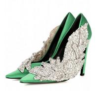 çiçek düğün ayakkabıları topuklu ayakkabı toptan satış-Pist tarzı Taklidi Kadınlar Parti Pompaları Ipek Sivri Burun Stiletto yüksek Topuklu Zarif Lady Kristal çiçek Düğün Ayakkabıları