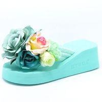 Wholesale ladies wedge platform sandals - HTUUA 2017 New Summer Slippers Women Fashion Flip Flops Beach Platform Sandals Ladies Handmade Flowers Wedge Jelly Shoes SX054