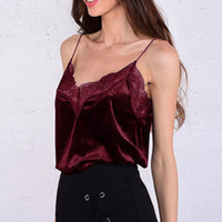 3a49f58100be99 KWomen s Sexy Velvet Laced V-Neck Spaghetti Strap Pullover Camisole Tank Top