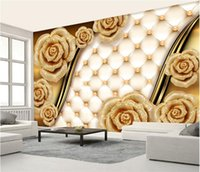 rosas de oro de china al por mayor-Custom Photo Mural Wallpapers 3d Luxury Gold Roses Bolsos blandos Joyas TV Walls Wallpapers Living Room Papeles de pared