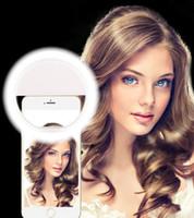 мобильные телефоны флеш-камера оптовых-Мобильный телефон Selfie LED кольцо Флэш-объектив красоты заполнить свет лампы портативный клип для камеры сотового телефона смартфон