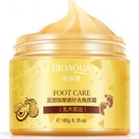 füße masken großhandel-BIOAQUA Sheabutter Peeling Fußmassage Creme Fußpeeling Erneuerung Maske Baby Fuß Haut glatte Füße Pflegecreme