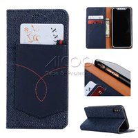 Wholesale Denim Phone Cases - Denim Jeans PU Leather pocket Wallet Card Slot Adsorption Cover TPU Phone Case For iPhone X 8 7 6s 6 Plus Samsung Note 8 S8 Plus Opp Bag