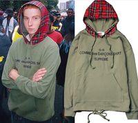 başlıklı şapka toptan satış-Yüksekliği Sokak Justin Bieber Kapüşonlu Tişörtü Erkek Moda Gevşek Kış Kazak Hoodies Ekose Şapka Mektup Baskı Hoodies Erkeklerde Üst
